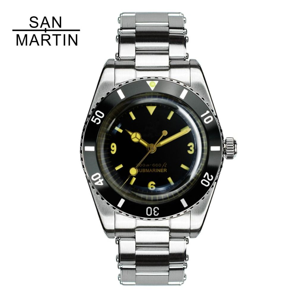 San Martin Men Vintage Watch Automatic Diving Watch Stainlss Steel Watch 200m Water Resistant Swiss ETA 2824_2 Movement