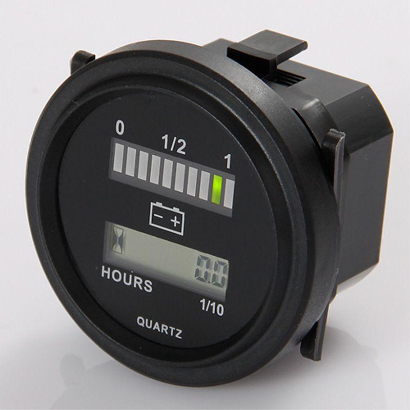 Compteur d'heure lcd rond avec indicateur de batterie led jauge 12 V 24 V 36 V 48 V 72 V pour balayeuse de tracteur de voiture de golf