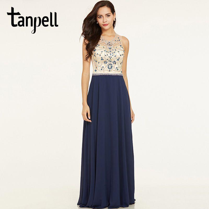 Tanpell beaded long evening dress dark royal blue sleeveless floor length a line dress cheap women backless formal evening gown