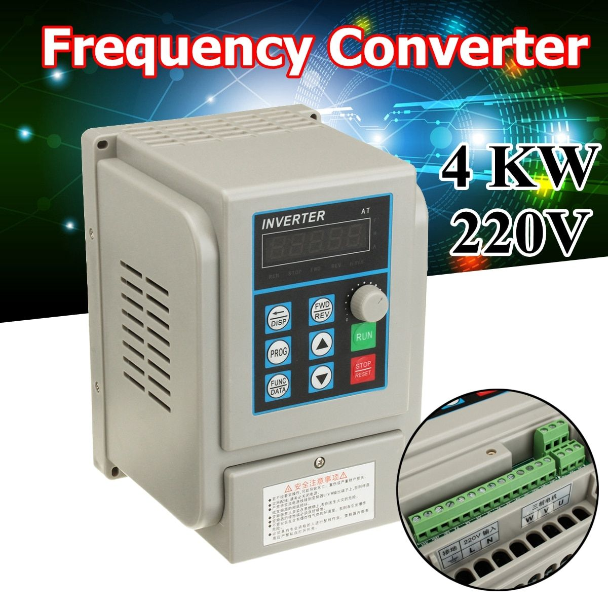 AC 220V Frequency Converter 4KW Variable Frequency Drive Converter VFD Speed Controller Converter