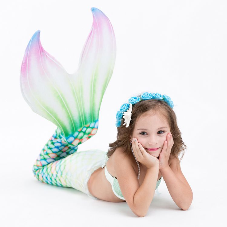 2018 NEW ARRIVAL!Mermaid Tail With Monofin Cospaly Costumes Dress Summer Vacation Swimmable Swimsuit Bikini Set