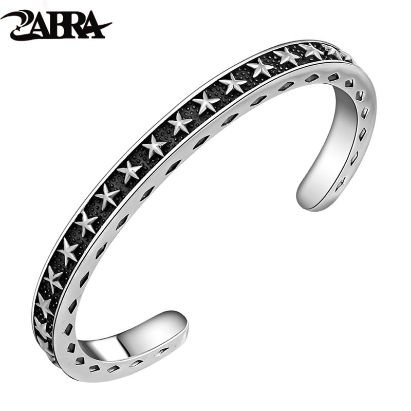 ZABRA Solid 925 Sterling Silver Wide 6mm Thickness 4mm Vintage Open Cuff Bangle Women Men Carving With Stars Opening Bracelet