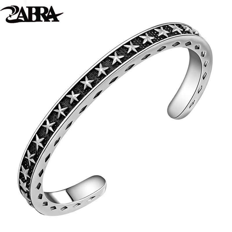 ZABRA Solide 925 Sterling Argent Large 6mm Épaisseur 4mm Vintage Ouvert Manchette Bracelet Femmes Hommes Sculpture Avec Étoiles ouverture Bracelet