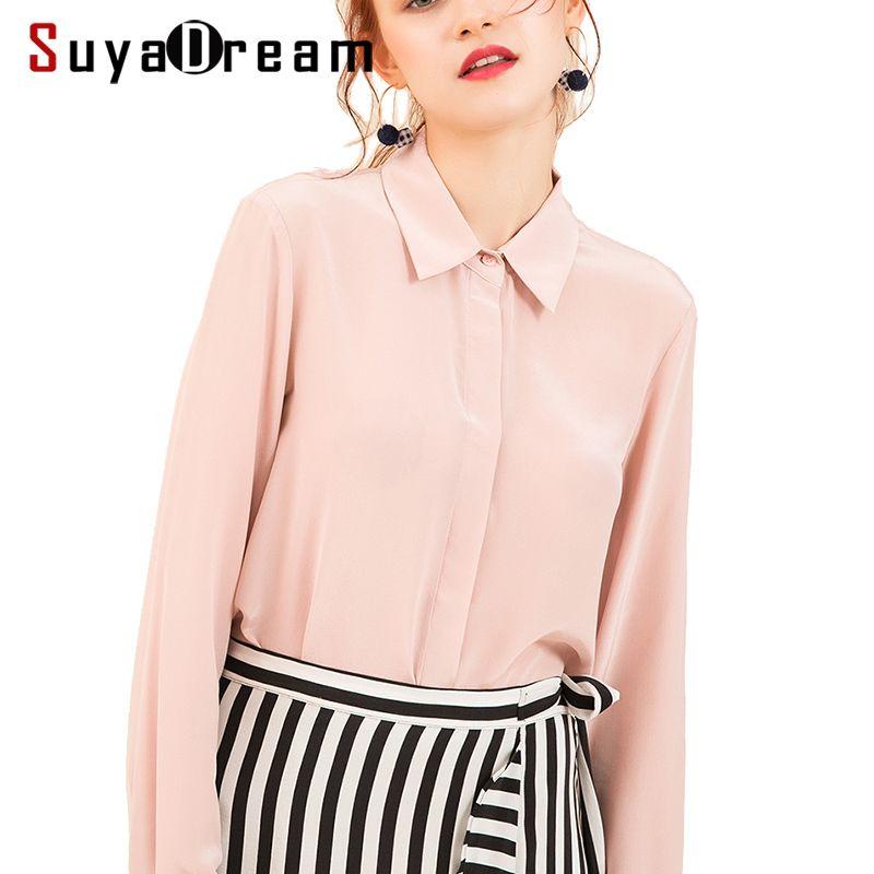 Women Silk Blouse long sleeved 100% REAL SILK CREPE Blouses Solid Basic Button <font><b>OFFICE</b></font> Lady SHIRT 2018 WHITE Blusas femininas