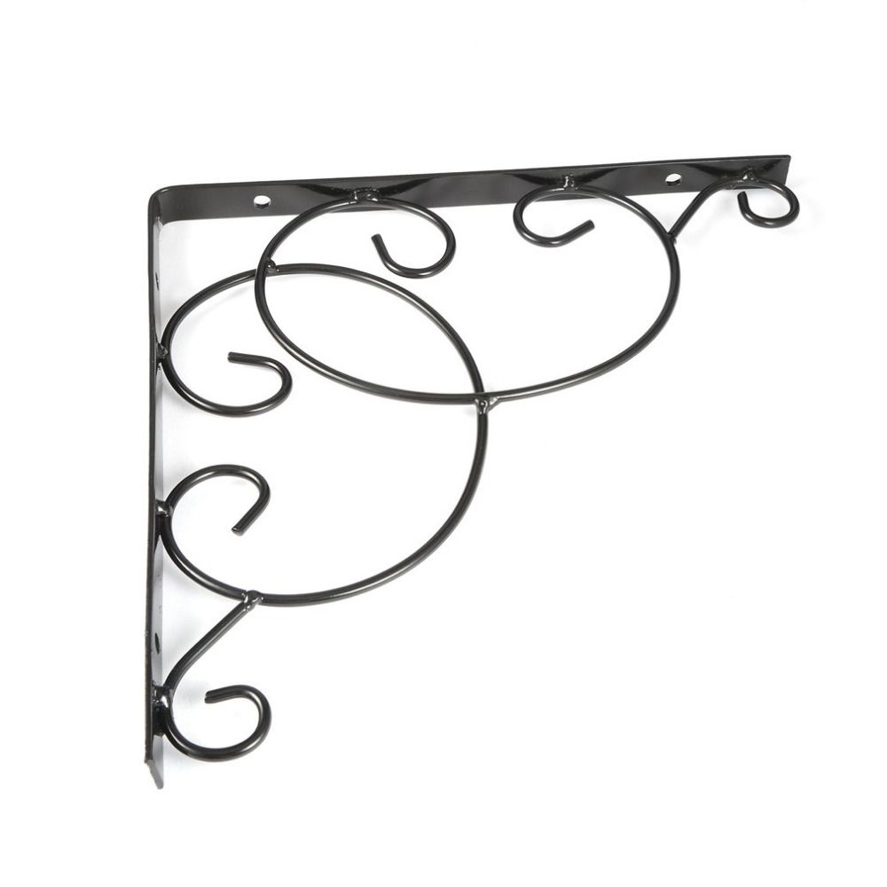 Vintage Style Iron Wall Mounted Floral Shelf Bracket with Screws for Bookrack Clapboard Set up Box Triangle Shape Sturdy