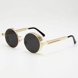 Retro Putaran Logam Steampunk Sunglasses Pria Fashion Wanita Kacamata Merek Desainer Kacamata Vintage Yang Berkualitas Tinggi UV400 Kacamata