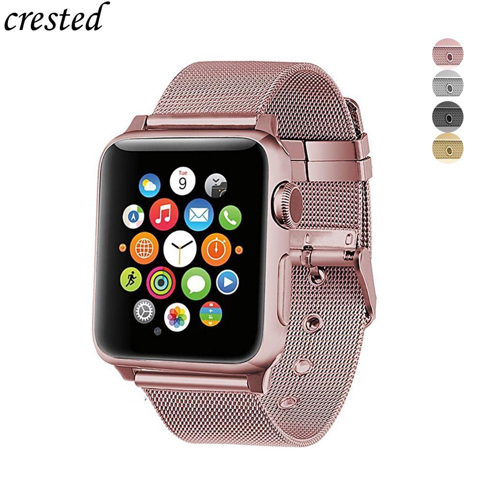 Sport bracelet pour apple watch 4/3/2/1 bande en acier inoxydable fine lignes milanese boucle bracelet pour iwatch 44mm/40mm/42mm/38mm