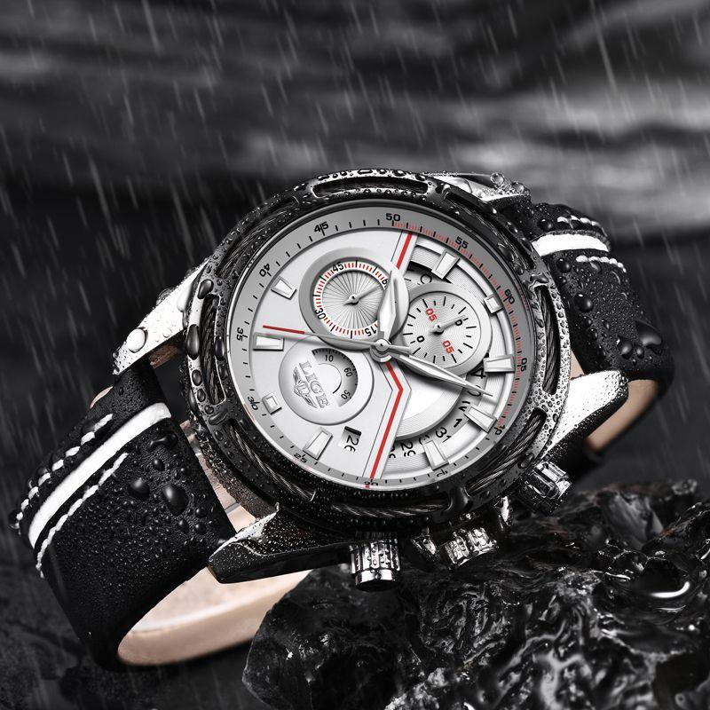 LIGE New Watches Men Brand Luxury Chronograph Men Sports Watches Waterproof Genuine Leather Quartz Men Watch Relogio Masculino