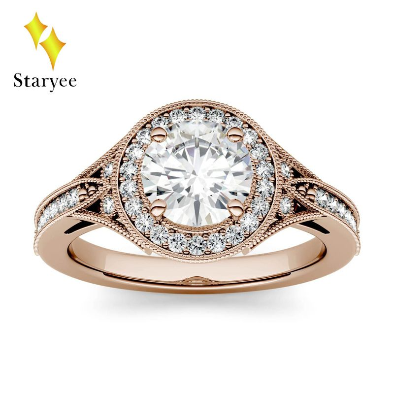 Luxury 1ct GH Color Engagement Wedding Moissanite Diamond Round Brilliant Halo Ring For Women 18K Rose Gold