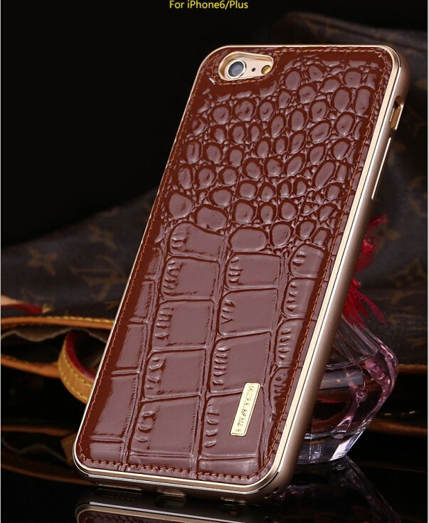 For iPhone 6s Case Crocodile Pattern Genuine Leather Hard Back Cover Luxury Aluminum Metal Bumper Case For iPhone 6 6s Plus Case