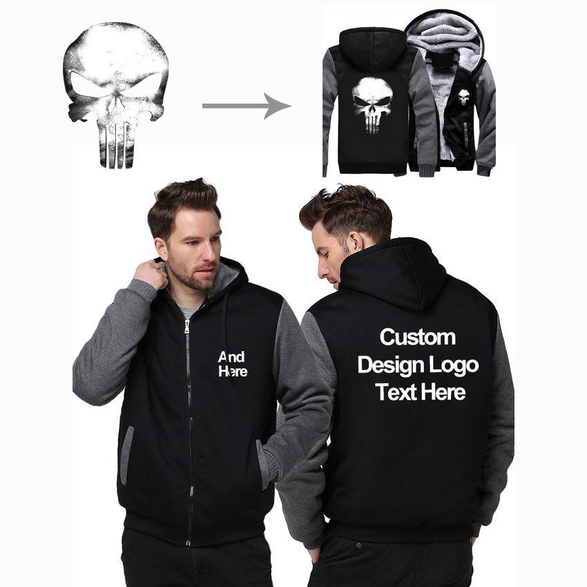 US Size Custom Mens Hoodies DIY Print LOGO Design Hoodie Winter Fleece Thicken Coat Jacket Sweatshirts Wholesalers Drop Shipper