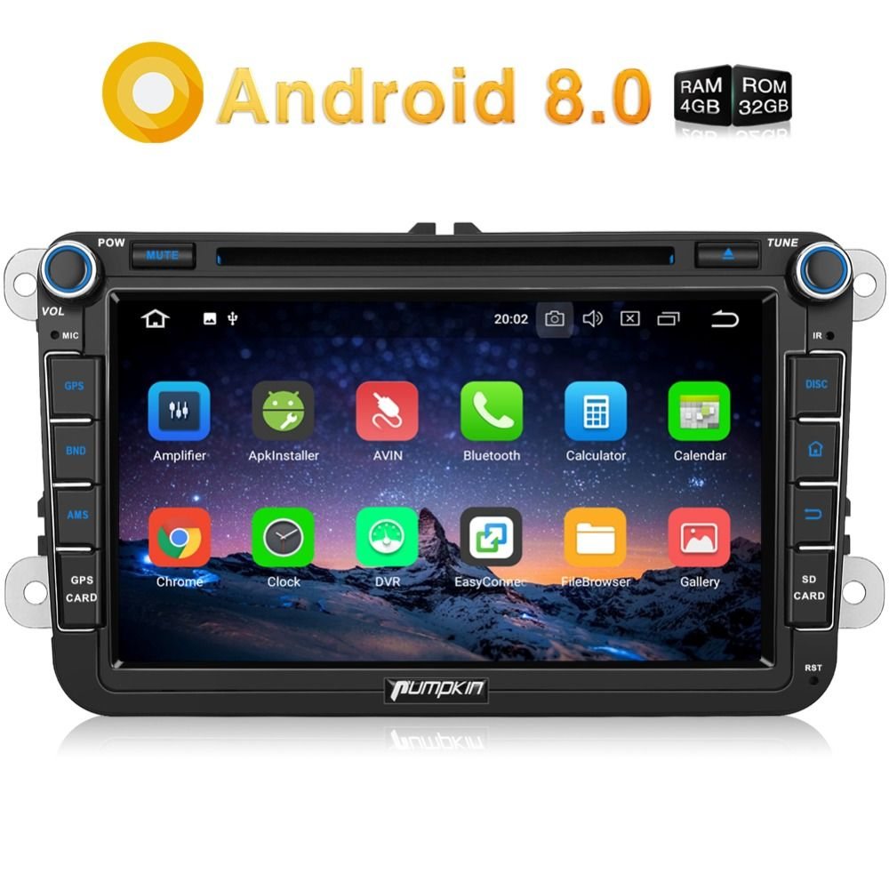 Pumpkin 2 Din 8'' Android 8.0 Car DVD Player GPS Navigation Car Stereo For Volkswagen/Skoda/Golf/Polo FM Rds Radio Wifi Headunit