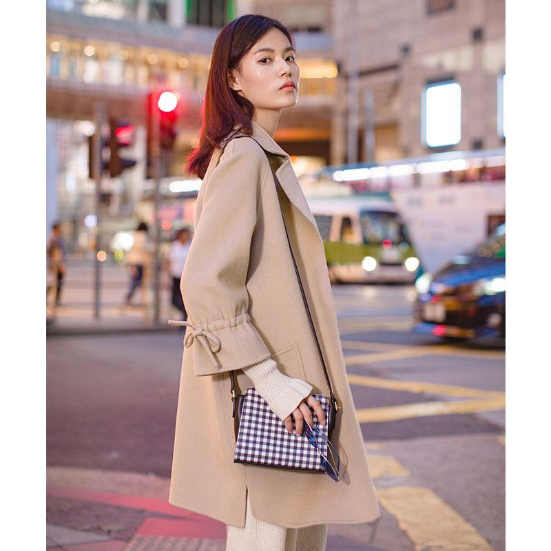INMAN Mid Long Style Simple Design Slide Split Drawstring Bow Knot Sleeve Wool Overcoat
