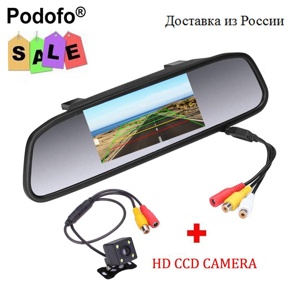 Podofo CCD HD étanche moniteur de stationnement système, 4 LED Vision nocturne voiture vue arrière caméra + 4.3 pouces voiture rétroviseur moniteur