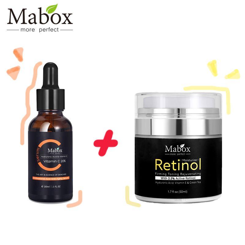 Mabox vitamine C sérum blanchissant + rétinol 2.5% crème hydratante visage