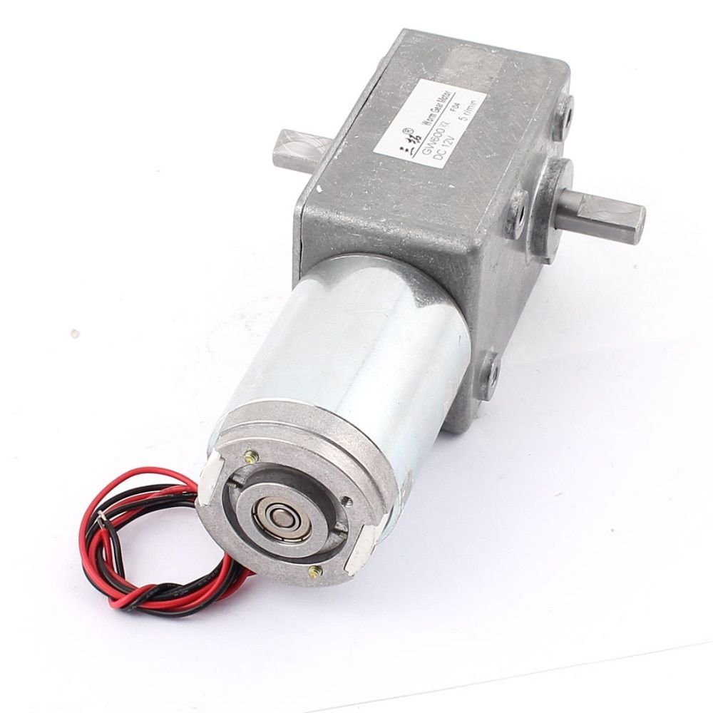 DC 12V 31/5/15/22RPM Dual-Shaft High Torque Reversible Worm Gear Motor Speed Reduction Reducing Electric GearBox Motor Accessory