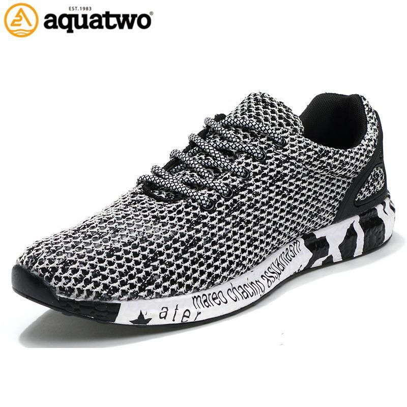 AQUA DOS Nuevos Estilo Popular de Los Hombres Zapatos Para Correr de Malla de Aire Zapatos Atléticos Con Cordones Al Aire Libre Respirable Walkng jogging Zapatillas de Deporte yb-0805