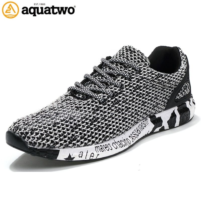 AQUA TWO New Popular Style Men <font><b>Running</b></font> Shoes Air Mesh Lace-Up Athletic Shoes Outdoor Breathable Walkng jogging Sneakers yb-0805