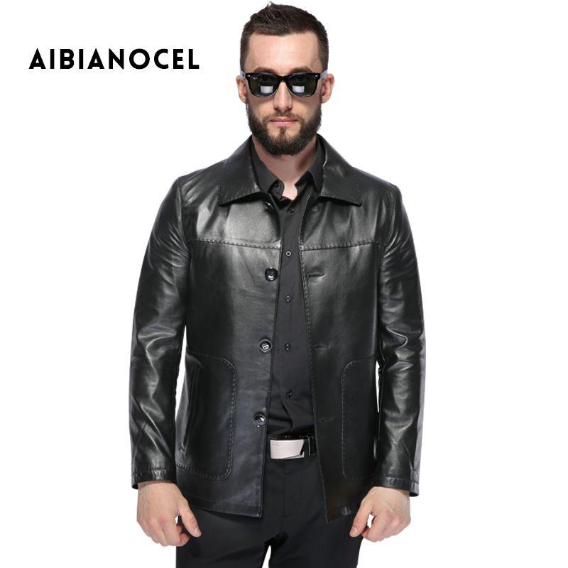 AIBIANOCEL 2017 New Style Winter Leather Jacket Men Sheepskin Jacket Real Leather Black Coat Men's Genuine Leather Coat 2707