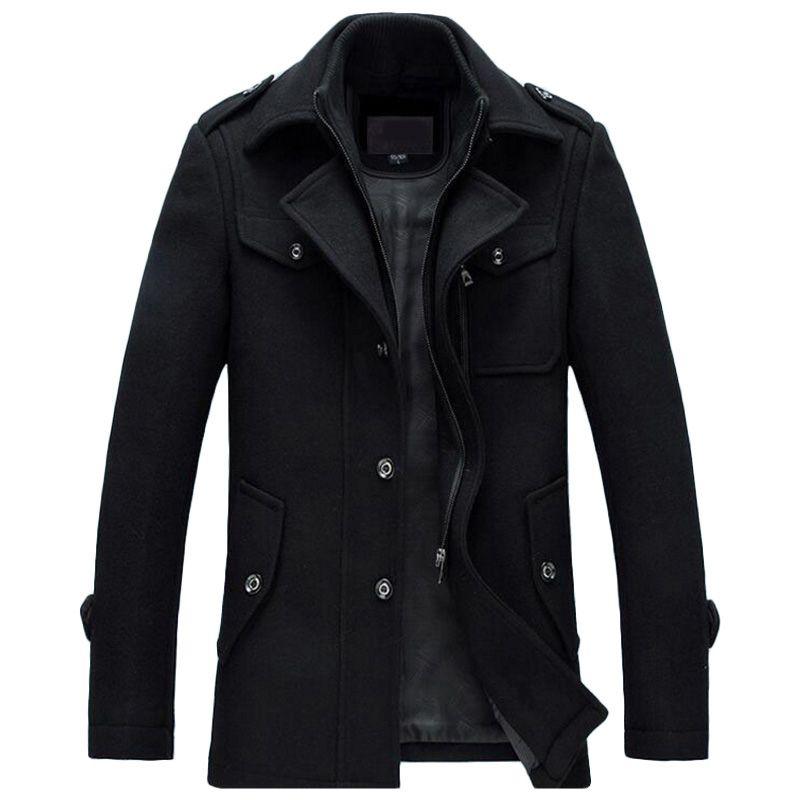 Winter Jacket Men Thickening Wool Coat Slim Fit Jackets Fashion Outerwear Warm Man Casual Jacket Overcoat Pea Coat Plus Size 3XL