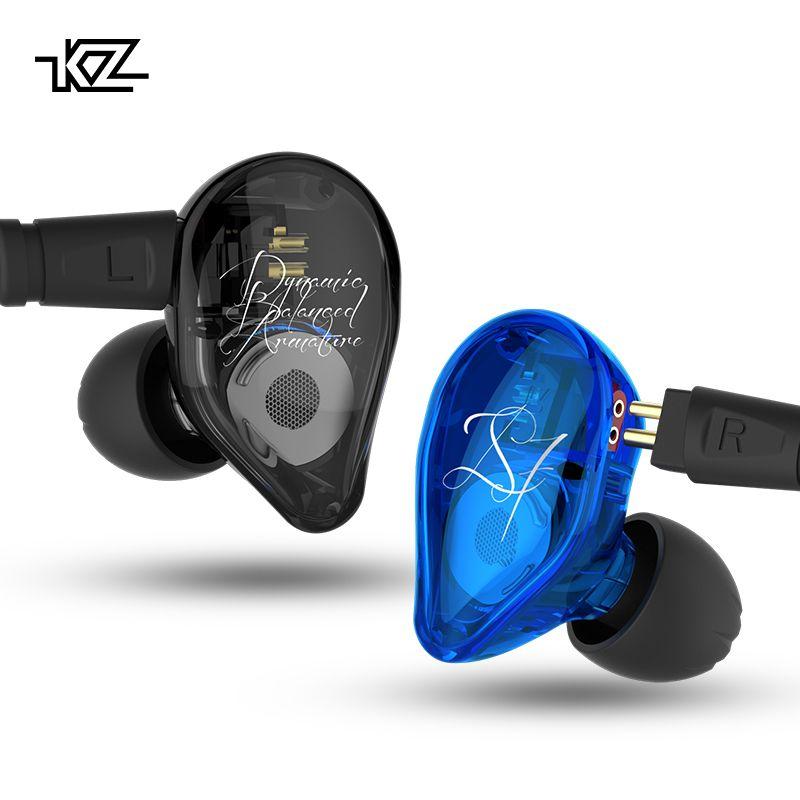 KZ ED16 Earphone 2BA+1DD Armature &Dynamic Hybrid Headset Earphone HiFi Heavy bass Sport Earbuds With 2 pin Cable Free Shipping