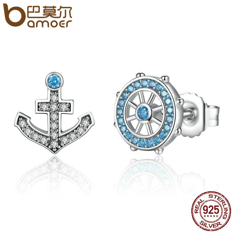 BAMOER Popular 100% 925 Sterling Silver Anchor & Rudder Blue Crystals Stud Earrings Women Fashion Boat Element Jewelry SCE030
