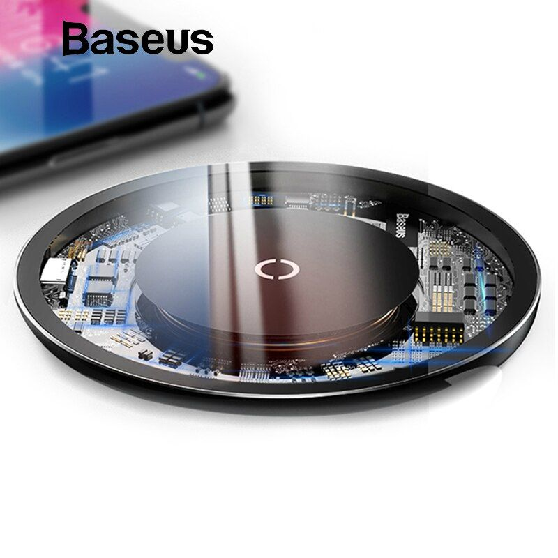 Chargeur sans fil Qi Baseus 10 W pour iPhone X/XS Max XR 8 Plus élément Visible chargeur sans fil pour Samsung S9 S10 + Note 9 8