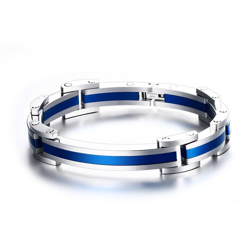 Men Bracelets Curved Hinged Link Blue Wrist Wristband Stainless Steel Bracelet Bangles Fashion Jewelry Bijoux Homme Pulseira 8