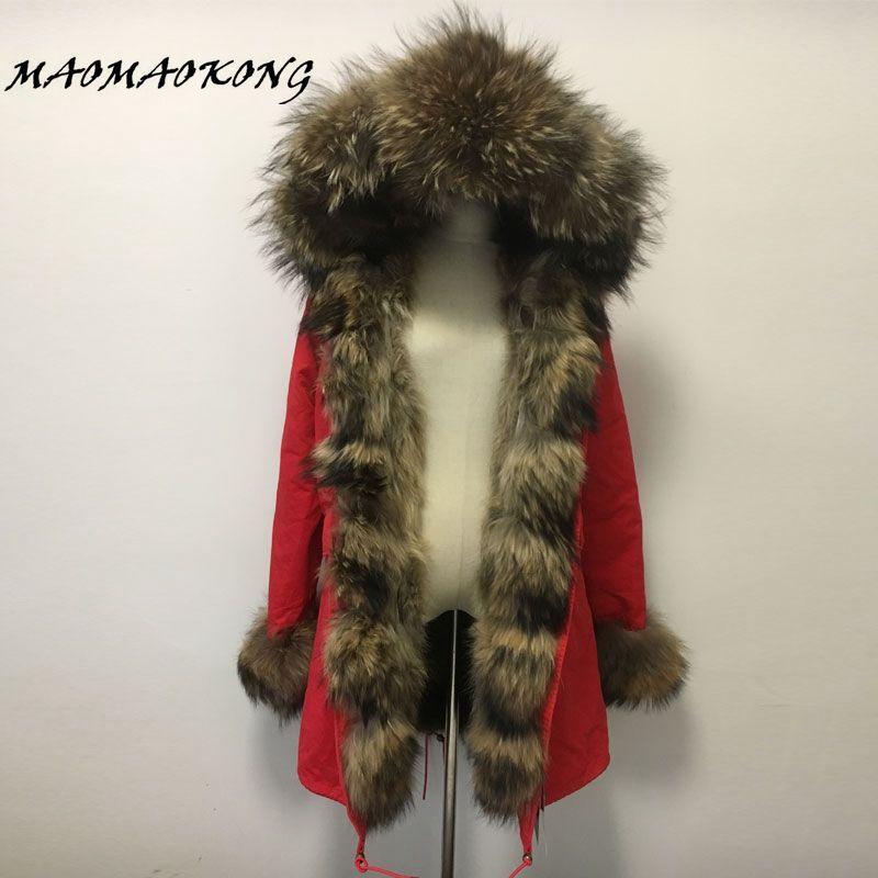 MAO MAO KONG fur coat parkas winter jacket coat women parka big real raccoon fur collar natural raccoon fur liner long outerwear