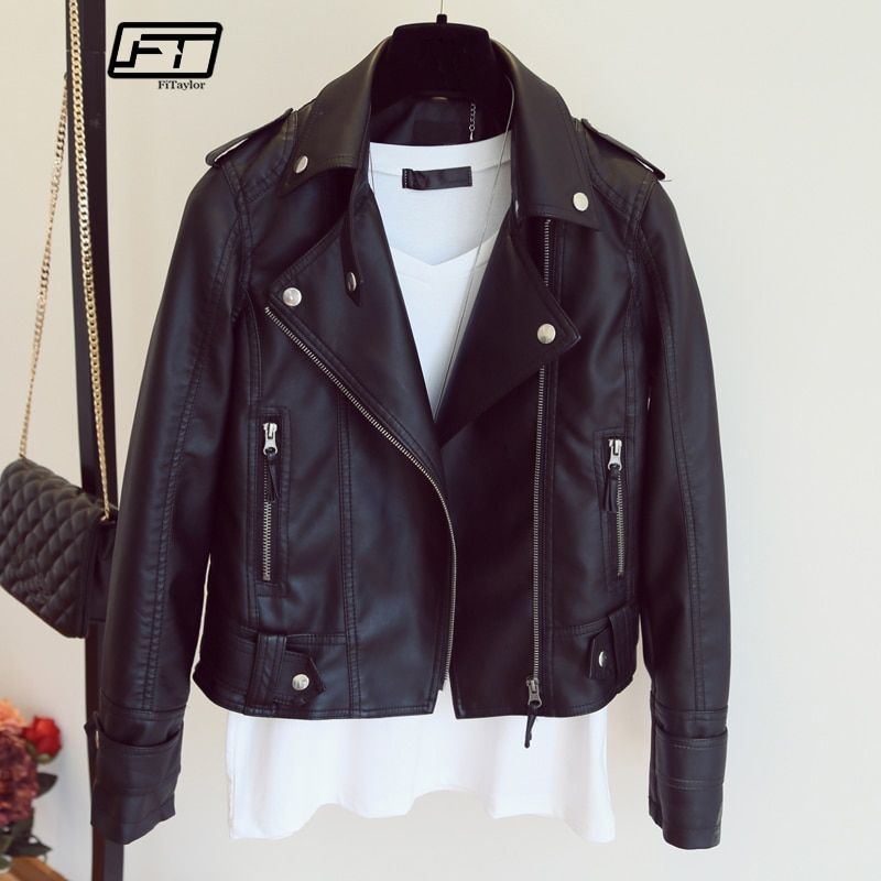 Female 2018 New Design Spring Autumn PU Leather Jacket Faux <font><b>Soft</b></font> Leather Coat Slim Black Rivet Zipper Motorcycle Pink Jackets