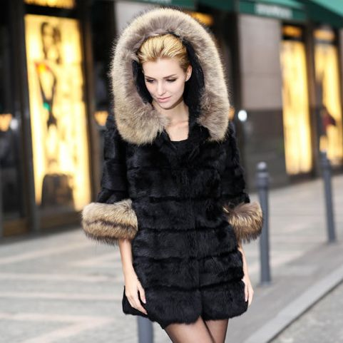 100% natural women real long rabbit fur coat with hood raccoon Fur trim lady coat big size jacket winter overcoat outwear cloth