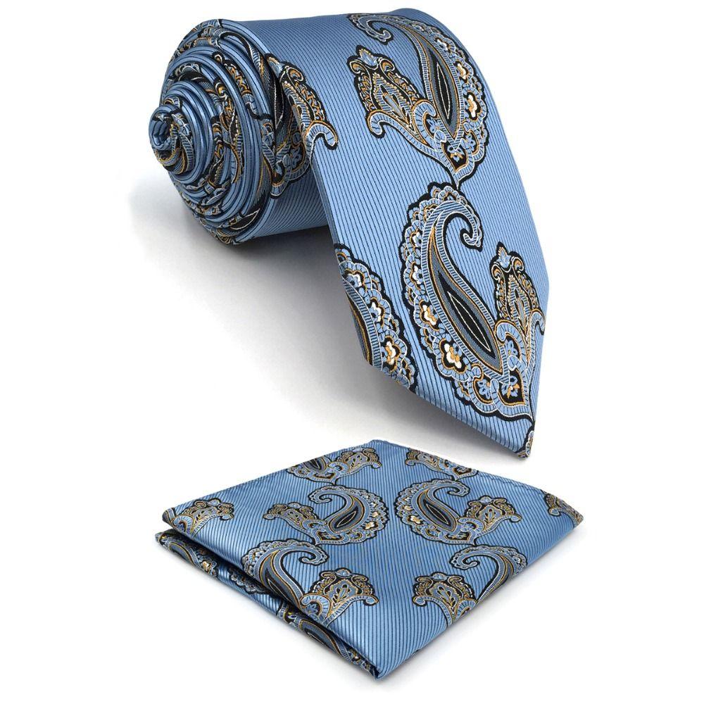P3 Extra long taille Paisley Bleu Azur Blanc Jaune Noir Hommes Cravates Ensemble 100% Soie Jacquard Tissé Cravates De Mode pour hommes 63