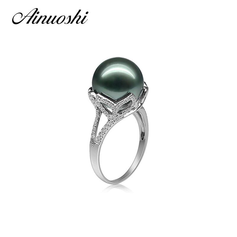AINUOSHI 925 Sterling Silver Leaves Shaped Pearl Rings Tahitian Pearls 11-12mm Round Pearl Wedding Engagement Anniversary Rings