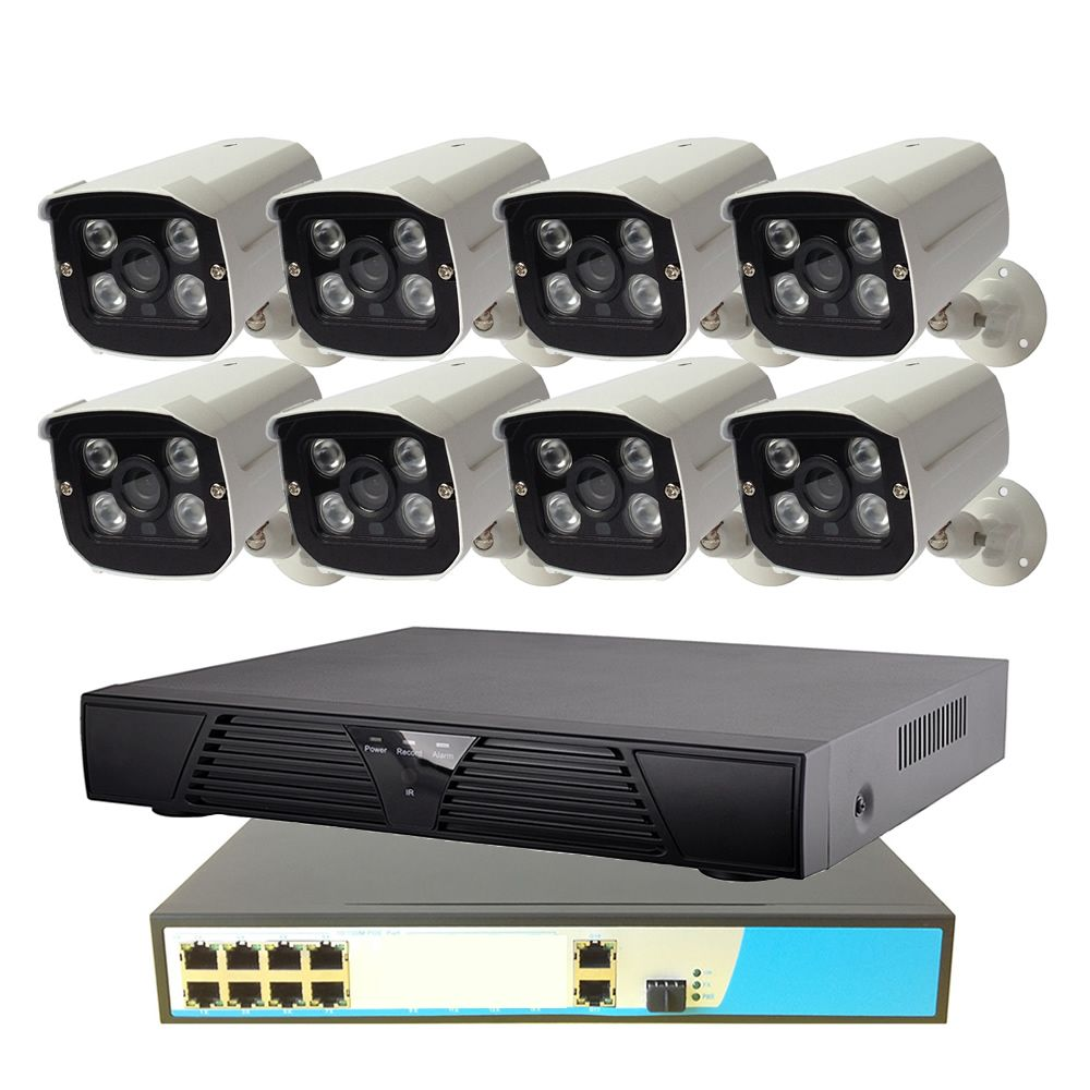 8CH POE Security System 1080P 8ch NVR+8ch PoE Switch+2MP Outdoor POE IP Camera Surveillance System IR Night Vision