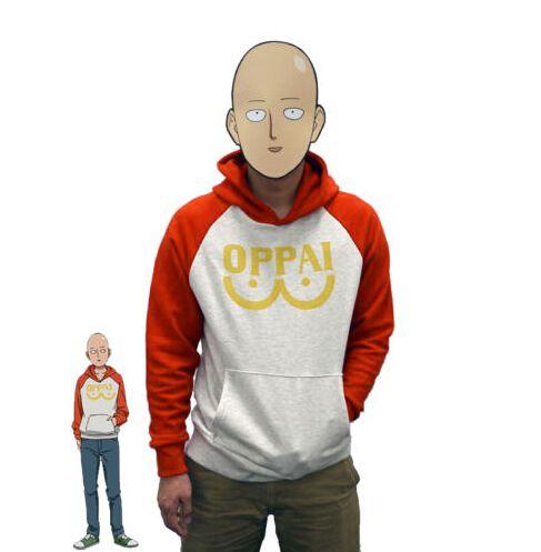 One Punch Man Hero Saitama Oppai Hoodie Cosplay Costume Hooded Jacket Sweatshirts Size S-2XL