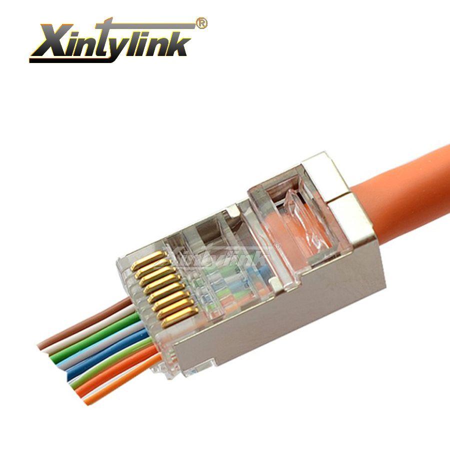 Xintylink ez rj45 connecteur rj45 plug cat6 cat5e cat5 réseau connecteur 8P8C blindé modulaire bornes ont trou 50 pcs 100 pcs