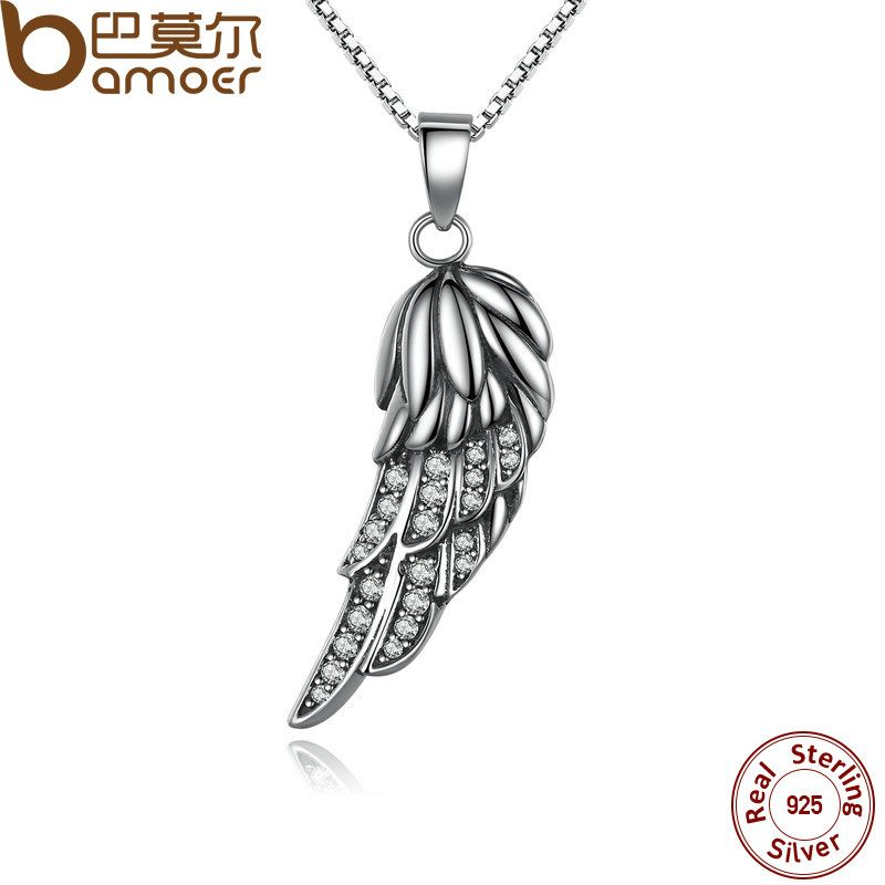 BAMOER New Popular Hot 925 Sterling Silver Wing Pendant Necklace Feather Necklace for Women Fine Jewelry SCN027