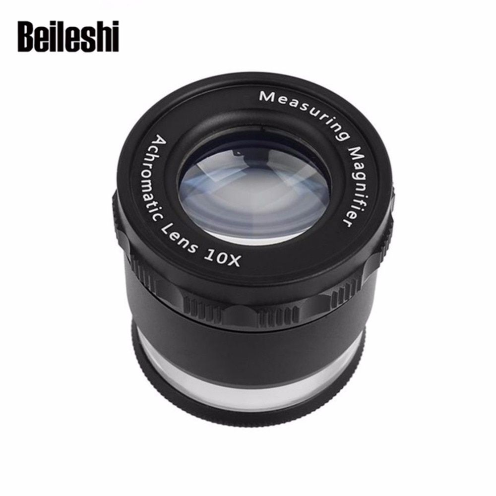 Beileshi HD Measuring Magnifier with LED Lights Magnifying Glass 10X Handheld Portable Precise Calibration gafas con luz y lupa