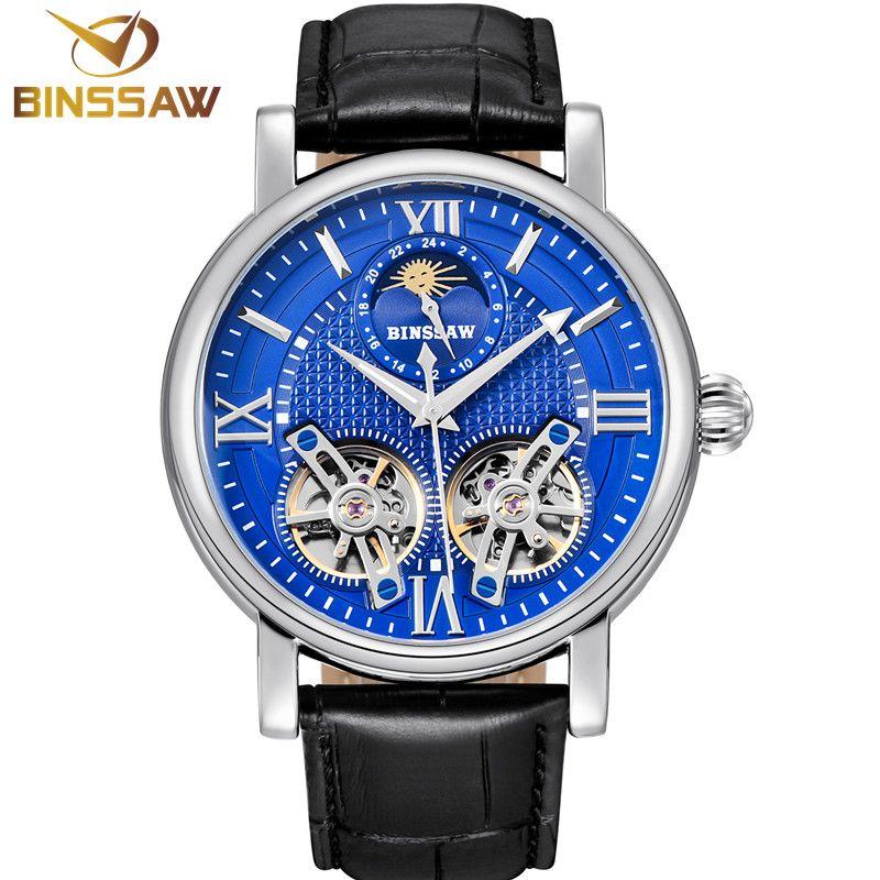 BINSSAW New Tourbillon Automatic Mechanical Men Watch Original Fashion Luxury Brand Leather Business Watches Relogio Masculino