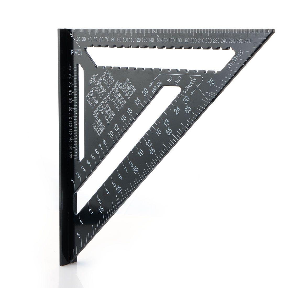 12 Pulgadas Negro Triángulo Regla Para Trabajar La Madera Herramienta de Medición de Lectura Rápida Herramienta de Diseño Cuadrado P20