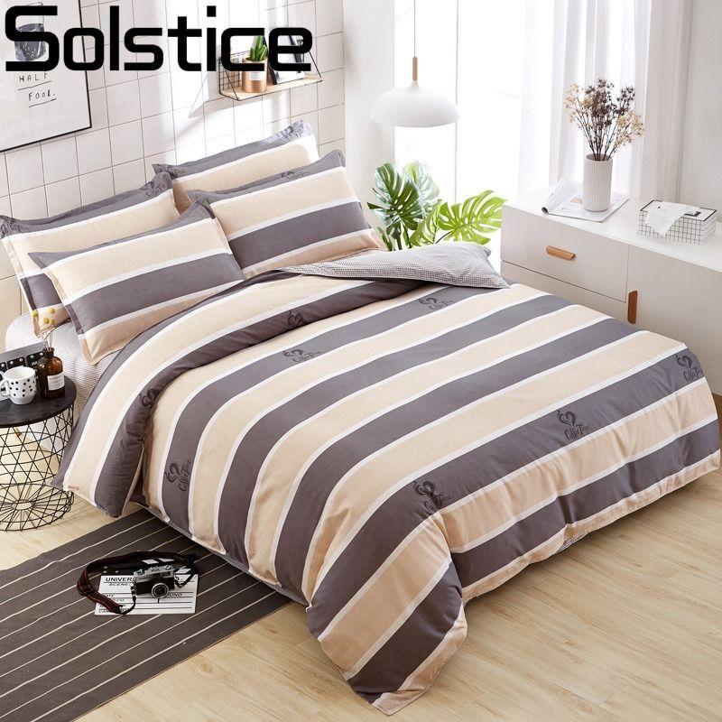 Solstice mode couleur mélange et Match coton literie ensemble drap de lit housse de couette taie d'oreiller 4 pièces combinaison lit couverture linge de lit