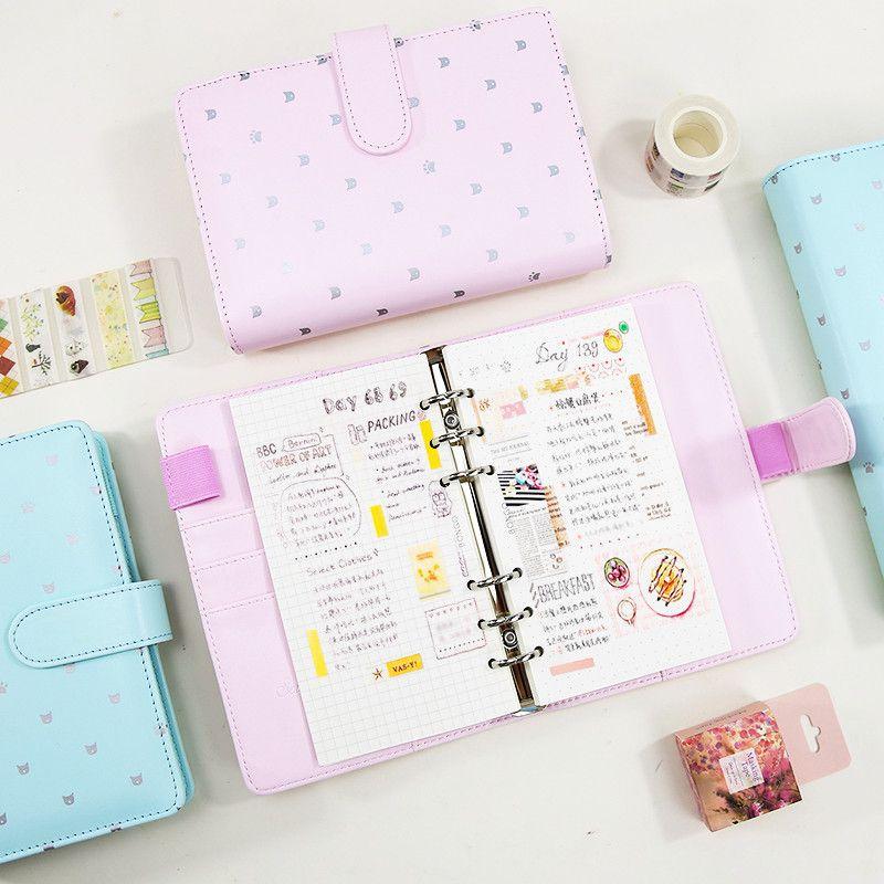 Harphia Refillable Notebook Macaron Pink planner Mint Cat Paw travel Journal Kawaii Cute Filofax Agenda Organizer A5 A6