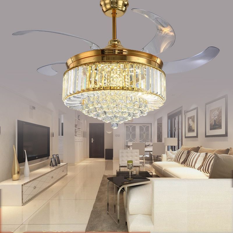 52 inch Gold Modern LED Crystal Ceiling Fans With Lights Living Room Folding Ceiling Light Fan Crystal Lamp Remote Control
