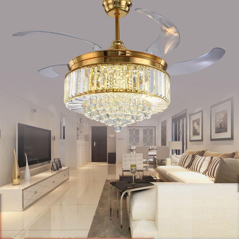 52 zoll Gold Moderne FÜHRTE Kristalldeckenventilator Mit Lichter Wohnzimmer Folding Deckenleuchte Fan Kristall Lampe Fernbedienung