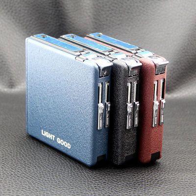 Nouveau 20 pcs Automatiquement En Métal Dépoli Cigare Cigarette Boîte Porte-Tabac Étui De Rangement avec Gaz Butane Torche Briquet Coupe-Vent