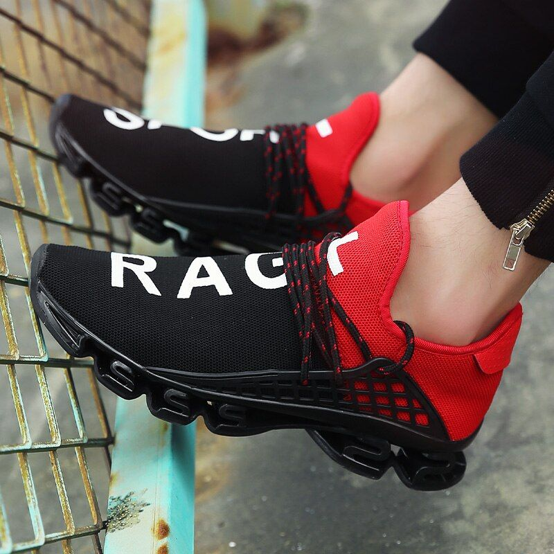 2018 Men's Sport Running Shoes Couples Lace-up Exercise Couple Sneakers Breathable Mesh Letter Shoes Size 36-48 Sneakers for Men