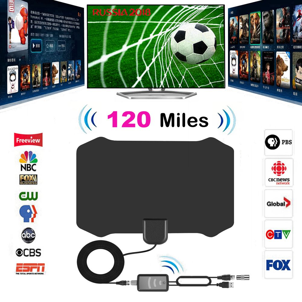 120 Miles Antena Digital HDTV <font><b>Indoor</b></font> TV Antenna with Amplifier Signal Booster TV Radius Surf Fox Antena HD TV Antennas Aerial