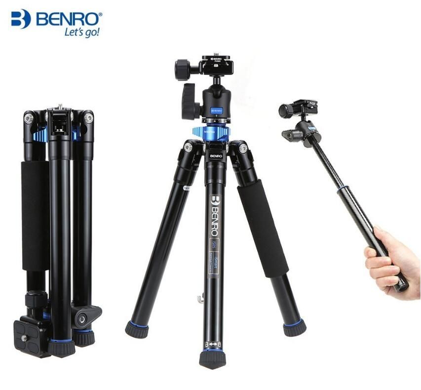 Benro IS05 Portable Light Aluminum Tripod Can Turn to Selfie Stick