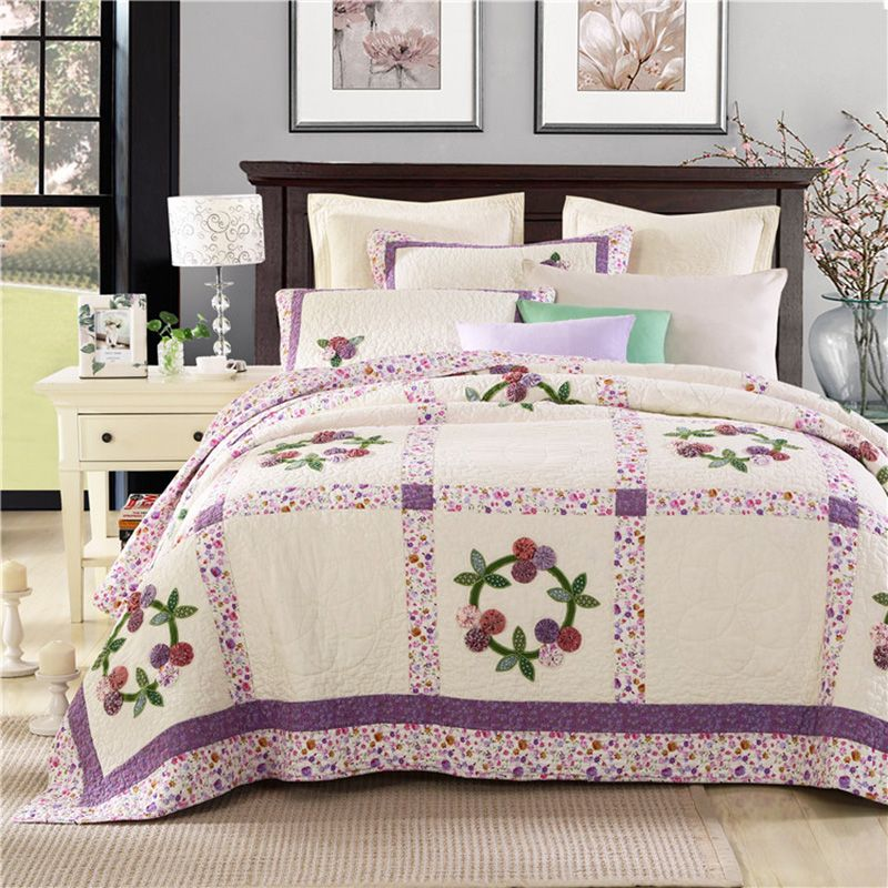 CHAUSUB Washed Cotton Patchwork Quilt Set 3PCS Handmade Quilted Bedspread Printed Bed Cover Pillowcase Coverlet Bedding Quilts