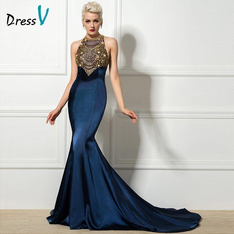 Dressv Elegent Mermaid Navy Blue Evening Dresses 2017 Halter Beaded Luxury chapel Train Evening Party Dress Formal Prom Dress